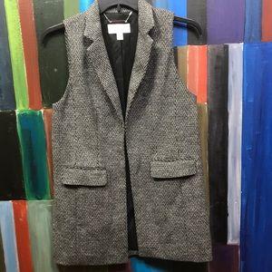 Michael Kors Black White Tweed Long Vest